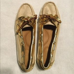 Coach Gold and Tan Loafers with Laces
